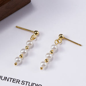 Japanese Style | Silver beaded gold beads earrings