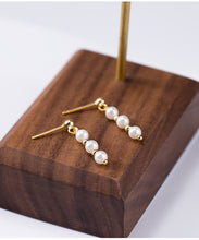 Load image into Gallery viewer, Japanese Style | Silver beaded gold beads earrings