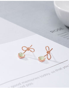 Silver Bow Love Earrings Material Opal Gold-Plated Earrings
