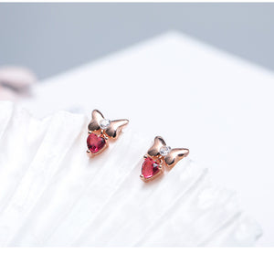 New Bow red zircon small fresh fashion heart ear earrings for women