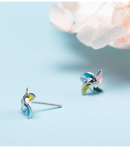 Silver small fresh sweet windmill decoration earrings for women