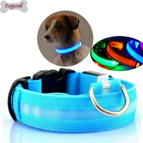 LED Pet Nylon Dog Collar Night Safety Flashing Glow In The Dark Dog Leash Dogs Luminous Fluorescent Collars Collar Perro