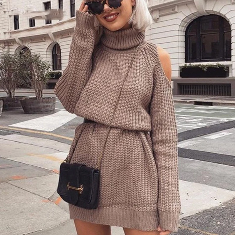 Off Shoulder Knitted Sweater Dress Women