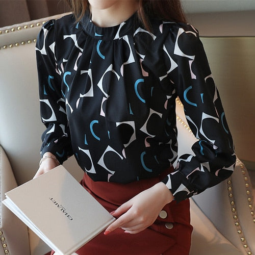 Long Sleeve Chiffon Blouse Women Print O-neck - Nik Boutique