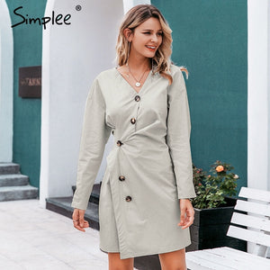 Women v-neck sexy dress A-line - Nik Boutique
