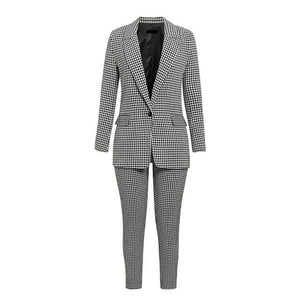 long sleeve female office pants blazer suits - Nik Boutique