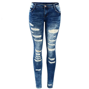 Women`s Fashion Blue Low Jeans - Nik Boutique