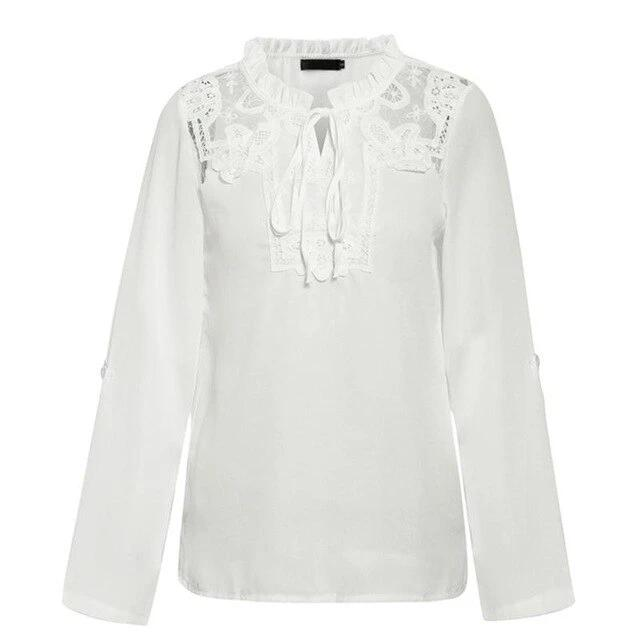 Long sleeve shirts autumn winter ladies white tops - Nik Boutique