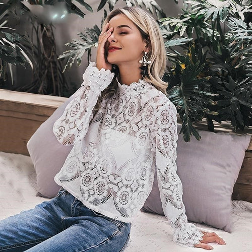 white lace blouse shirt  hollow out