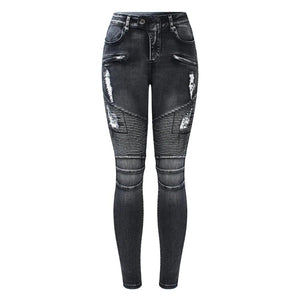 Mid High Waist Stretch Denim Skinny Jeans For Women - Nik Boutique