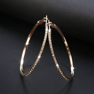 Spaloria Large Crystal Round Earrings Big Hoops Fashion