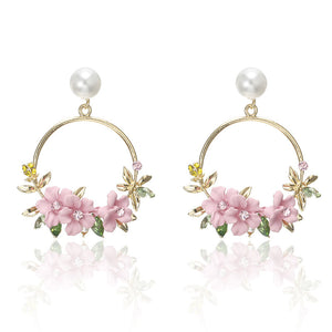 Small Hoop Earrings for Women Rhinestone Flower Jewellery Round Circle Earing