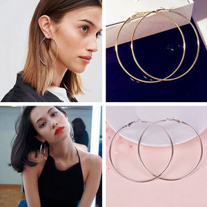 Gold Silver Hyperbole Ear Metal Big Circle Smooth Large Ring