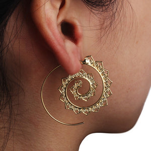 Vintage Bohemian Hollow Big Statement Hoop Earrings