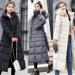 Winter Coat Women Jackets Thick Down Parkas Big Fur Belt Hooded