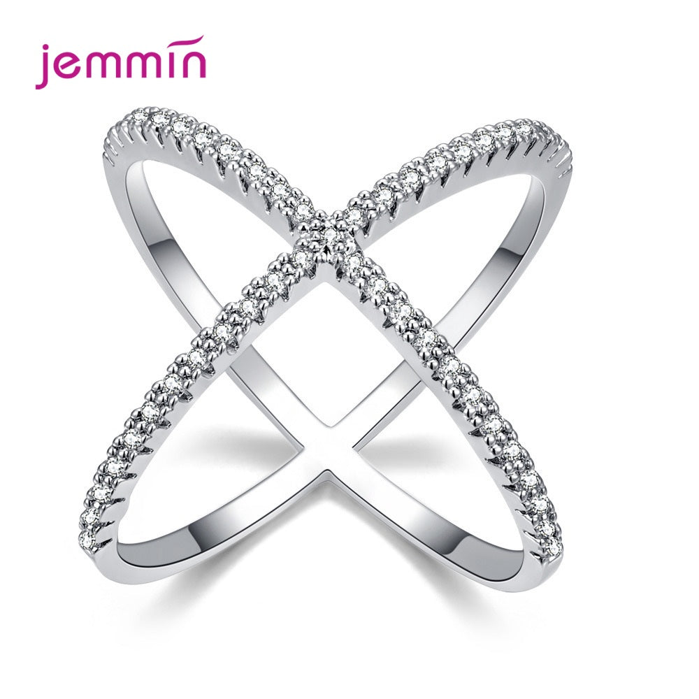 Crossing Finger Ring Micro Paved CZ Crystal Rings