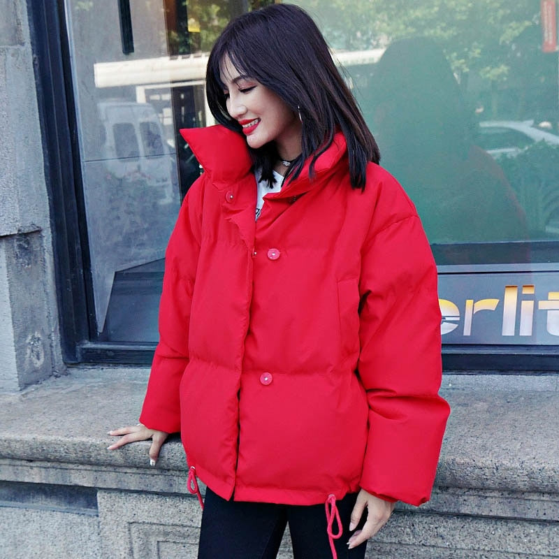Winter Jacket Women Stand Collar Solid Black White