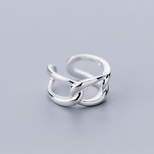 Silver Geometric Hollow link Opening Ring For Women