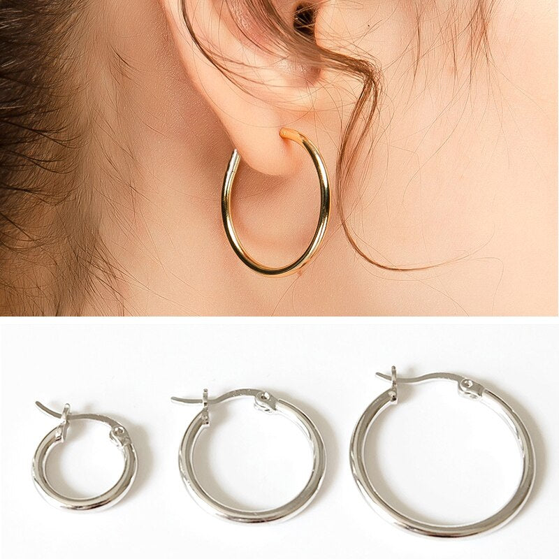 Gold Color Large Round Earrings Stainless Steel Fashion Women