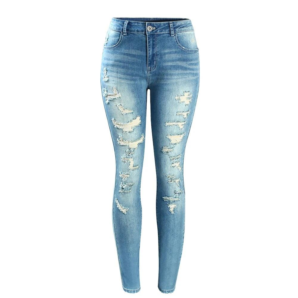 Fashion Mid High Waist  Jeans For Women