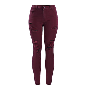 High Waisted Stretch Ripped Skinny Jeans For Woman - Nik Boutique
