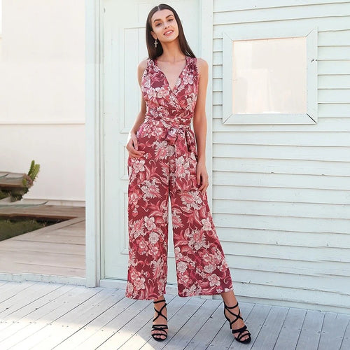 Backless lace up casual jumpsuit - Nik Boutique