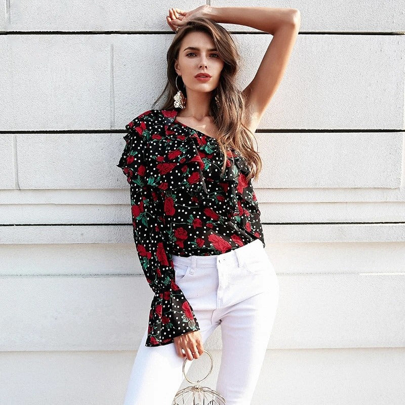 One shoulder floral blouse women - Nik Boutique