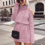 Off Shoulder Knitted Sweater Dress Women - Nik Boutique
