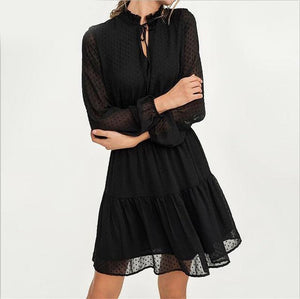 Black lace up hollow out mini dress women - Nik Boutique
