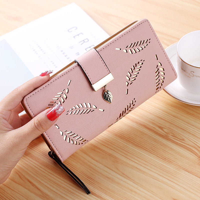 Female Long Wallet Gold Hollow Leaves For Women - Nik Boutique