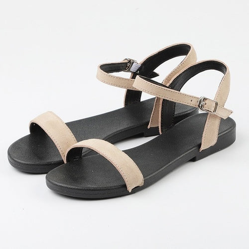 Flat Sandal Casual Woman Apricot Pink Black - Nik Boutique