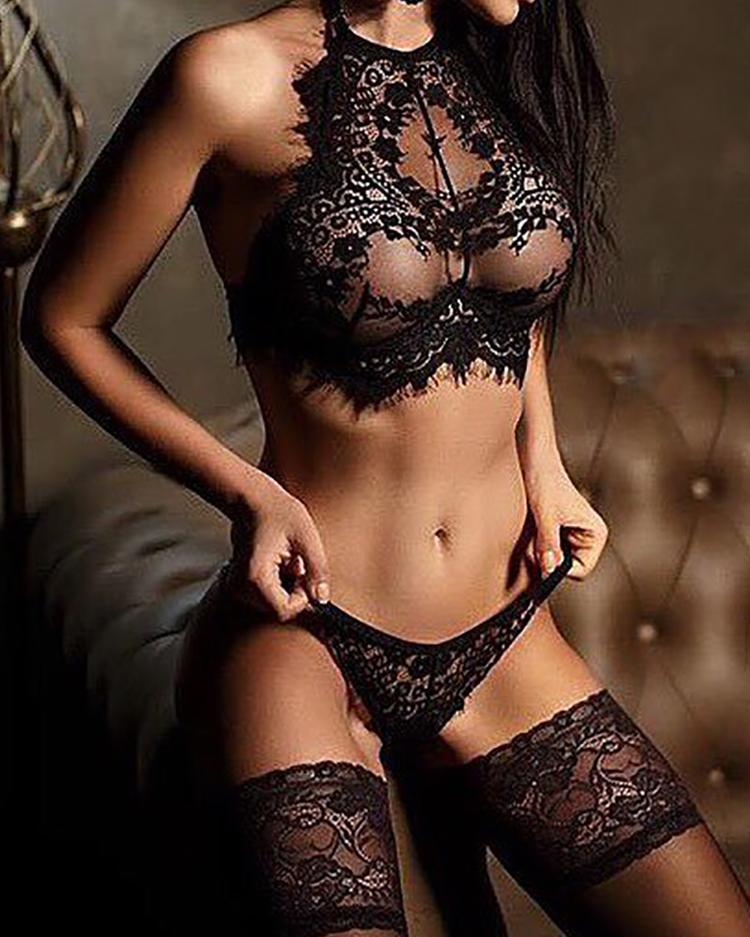 Alluring Black Eyelash Lace Trim Lingerie Sets