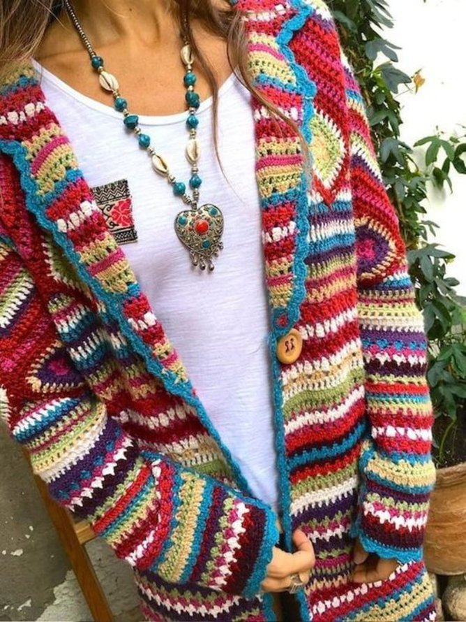 Multicolor Vintage Long Sleeve Sweater