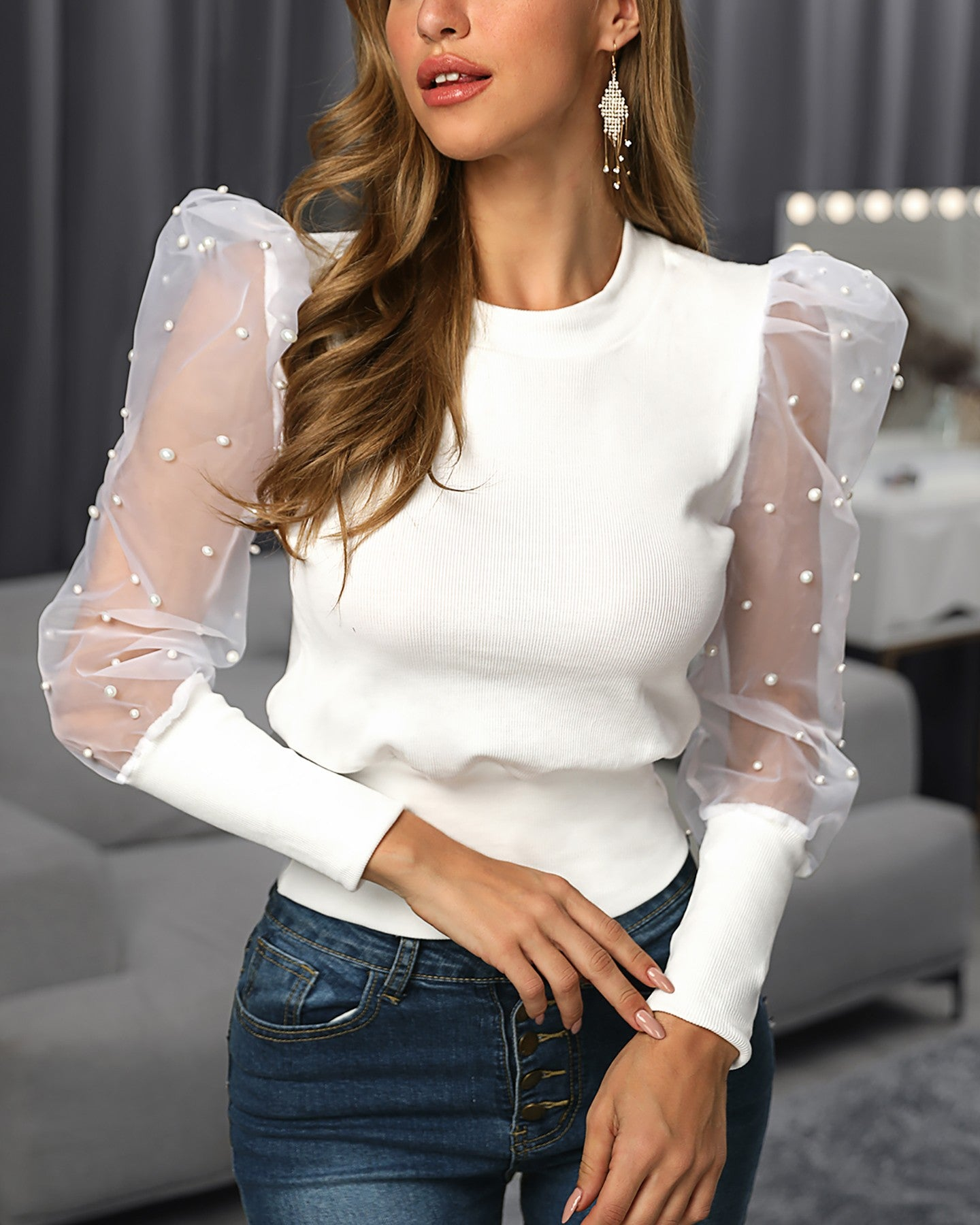 Beaded Design Puffed Sleeve Blouse