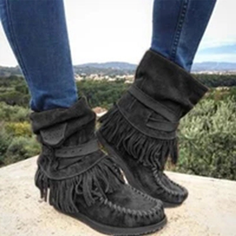 WOMEN'S FRINGED ALL SEASON CASUAL TASSELS BOOTS