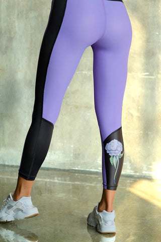 Eco-friendly Purple with Peony Leggings VEOM. Ethically made in Europe from recycled plastic