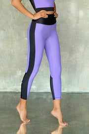 Purple with Peony Leggings 7/8