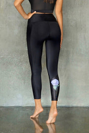 Eco-friendly Black with Peony Leggings VEOM. Ethically made in Europe from recycled plastic