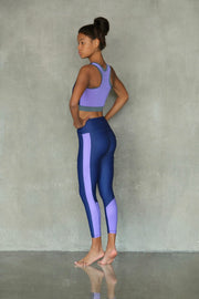 Eco-friendly Navy and Purple Leggings VEOM. Ethically made in Europe from recycled plastic
