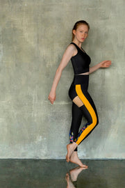 Eco-friendly Yellow and Black Leggings VEOM. Ethically made in Europe from recycled plastic