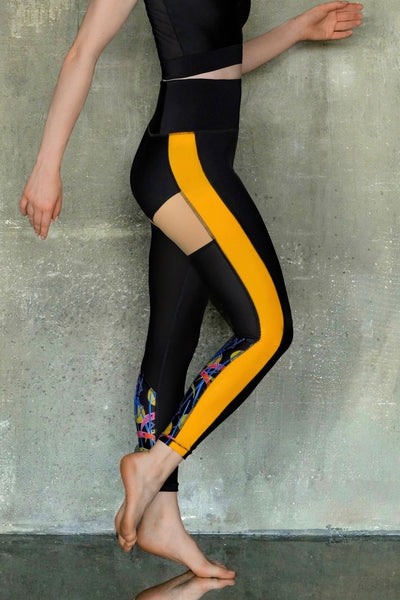 Yellow and Black Leggings 7/8