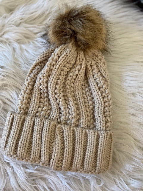 "SALE - ""Knit Pom Beanie"" - Beige or Gray"