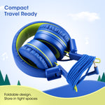Kids Headphones - noot products K12 Foldable Stereo Tangle-Free 3.5mm Jack Wired Cord On-Ear Headset for Children/Teens/Boys/Girls/Smartphones/School/Kindle/Airplane Travel/Plane/Tablet (Blue Lime)