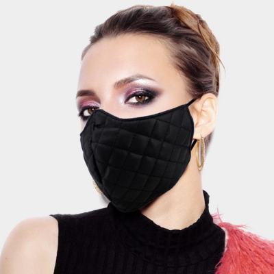 WHOLESALE Leather Quilted Pattern Fashion Mask 12pcs
