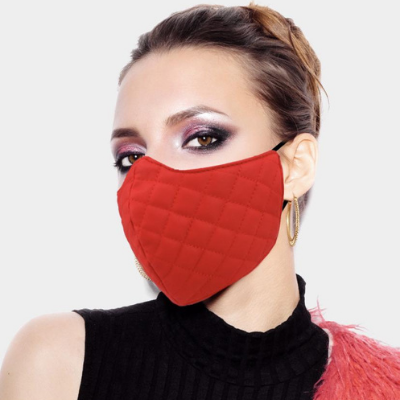 12 Red Leather Quilted Pattern Fashion Mask