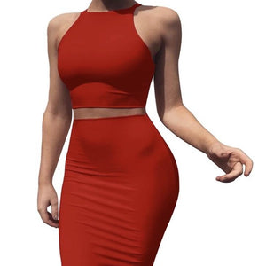 Crew neck sleeveless outfit Mid skirt Slim two piece suit