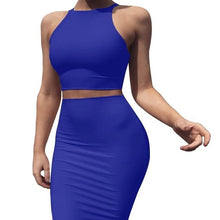 Load image into Gallery viewer, Crew neck sleeveless outfit Mid skirt Slim two piece suit