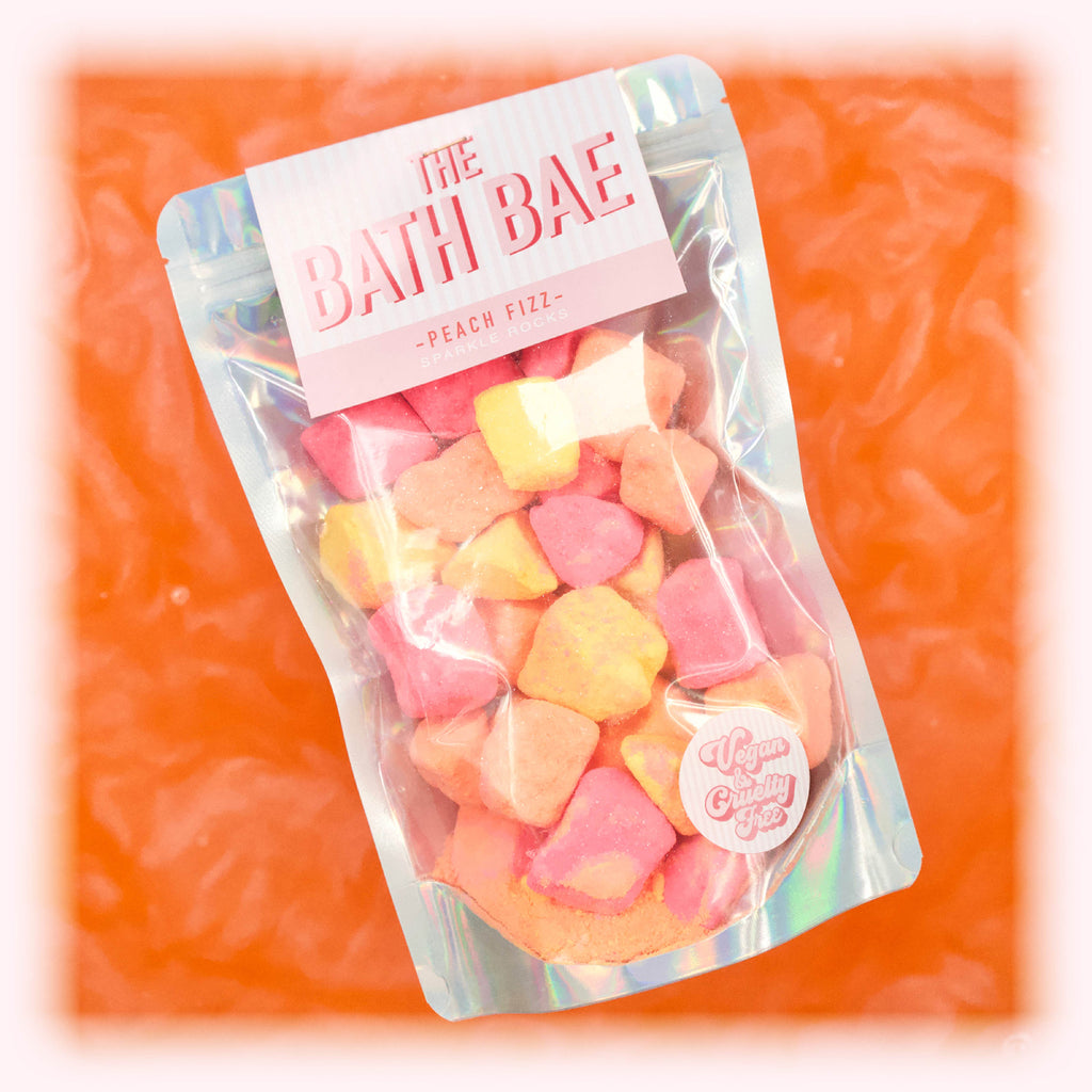 Peach Fizz Sparkle Rocks Peach shimmer water