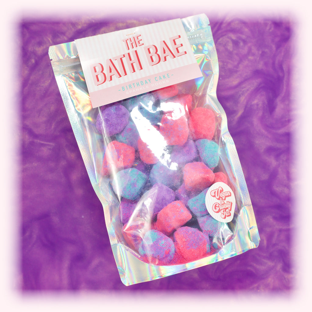 The Bath Bae Birthday Cake Bath Bomb Sparkle Rocks