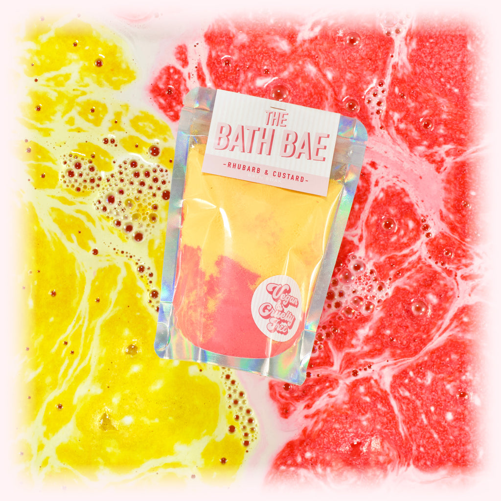 The Bath Bae Rhubarb and Custard Bath Bomb Soak Dust